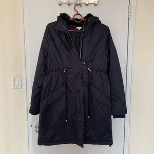 H&M MAMA padded parka coat, black faux fur hood